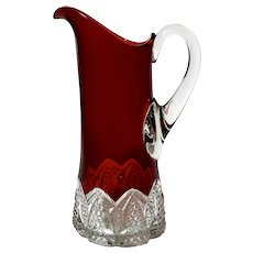 Antique Flash Glass Pitcher