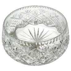 Extra Large Vintage Czechoslovakian Cut Crystal Bowl