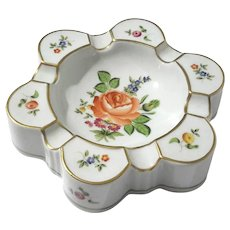 Herend Hand-Painted Floral Porcelain Ashtray