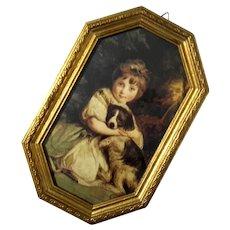 Florentine Gilt Wood Framed Print Of Girl And Dog