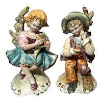 Large Pair Of Italian Capodimonte Figures