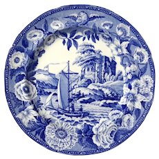 Pair Of Antique Staffordshire Blue And White Transferware Plates