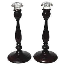Pair Of 19th Century English Hand-Turned Wooden Candle Holders