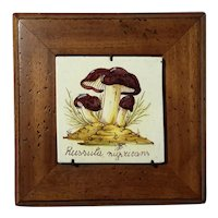 Vintage Italian Pottery Mushroom Tile In Custom Wood Frame