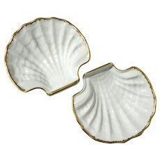 Pair Of Limoges Scallop Shell Porcelain Bowls