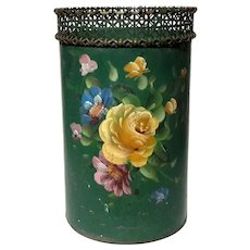 Tole Floral Painted Waste Can