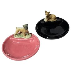 Pair Of Wade Porcelain Dog Whimtrays