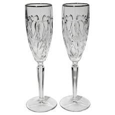 Pair Of Marquis By Waterford Crystal Sweet Hearts Champagne Flutes
