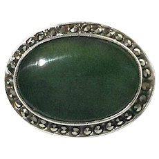 Vintage Sterling Silver Jade And Marcasite Pin