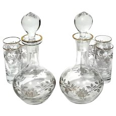 Antique French Etched Glass Cordial Decanter Set