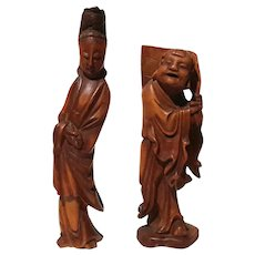 Early Vintage Pair Of Chinese Carved Wood Figures