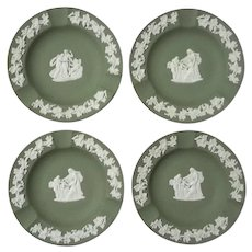 Set Of Four Wedgwood Green Jasperware Ashtrays