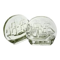 Large Pair Of Blenko Glass Ship Bookends