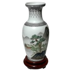Early Vintage Chinese Porcelain Vase On Rosewood Stand