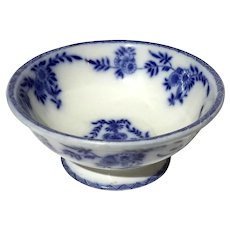 19th Century English Flow Blue Footed Bowl