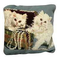 Vintage Hand-Made Cat Needlepoint Pillow