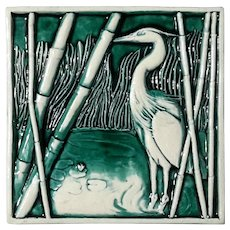 Vintage Signed Erika Bonner Pottery Crane And Bamboo Tile