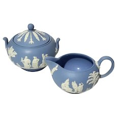 Wedgwood Blue Jasperware Creamer And Lidded Sugar Bowl