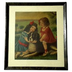 Victorian Lithograph Of Two Girls With A Large Dog