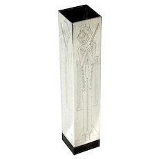 Scandinavian Mid-Century Modern Silverplate Vase With Zebra Wood Base