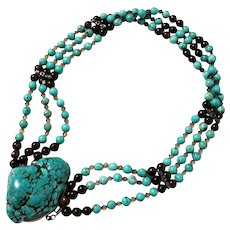 Turquoise Bead And Large Nugget Choker Necklace