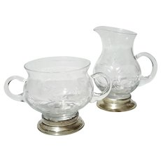Etched Glass Creamer And Sugar With Sterling Silver Base