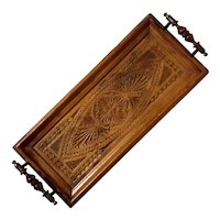 Antique Anglo-Indian Carved Wood Handled Tray