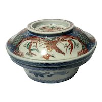 Large Antique Japanese Imari Covered Rice Bowl