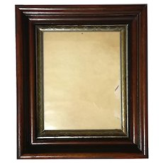 19th Century Walnut Picture Frame With Silver And Gold Gilt Liner