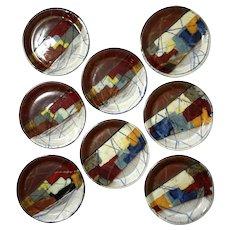Set Of Eight Studio Art Pottery Plates