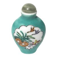 Vintage Signed Chinese Porcelain Snuff Bottle With Jade Lid