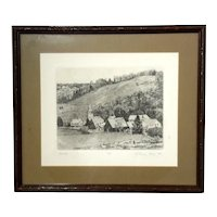 Original Etching Titled - Village - By Artist Bruce Peck