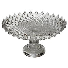 Early American Pattern Glass Extra Large Pedestal Bowl