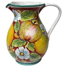 Large Italian Pottery Pitcher