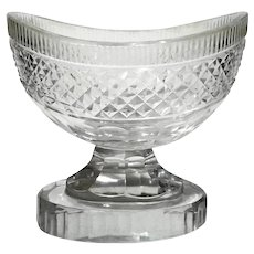 Antique Bohemian Cut Crystal Oval Pedestal Bowl