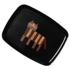 Couroc Of Monterey Striped Cat Tray
