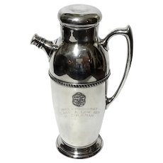 Mid-Century Vintage Poole Silver Plate Golf Trophy Cocktail Shaker