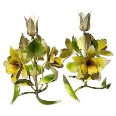 Italian Toleware Daffodil Candle Holders