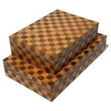 Pair Of Modern Inlaid Wood Boxes