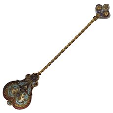 Antique Russian Enameled Gilt Metal Spoon