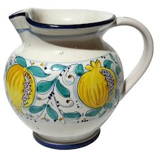 Italian Faience Glazed Pomegranate Pottery Pitcher