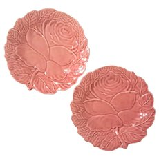 Pair Of Bordallo Pinheiro Portuguese Majolica Rose Plates