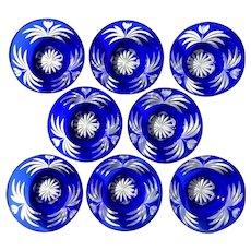 Set Of Eight Bohemian Glass Cobalt Blue Cut To Clear Bowls