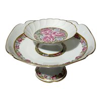 Set Of Two French Limoges Porcelain Pedestal Bowls
