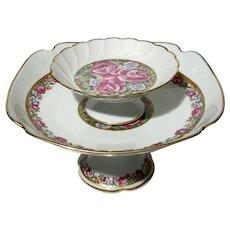 Set Of Two French Limoges Porcelain Pedestal Bowls