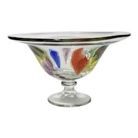 Art Glass Pedestal Bowl With Multi-Colored Leaves