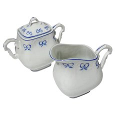 Vista Alegre Ruban Blue Porcelain Creamer And Sugar
