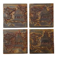 Set Of Four Chinese Pottery Tiles
