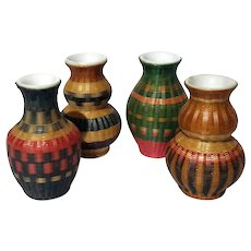 Set Of Four Chinese Porcelain Vases With Woven Basket Exterior