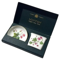 Minton Fine Bone China Malva Dish And Holder